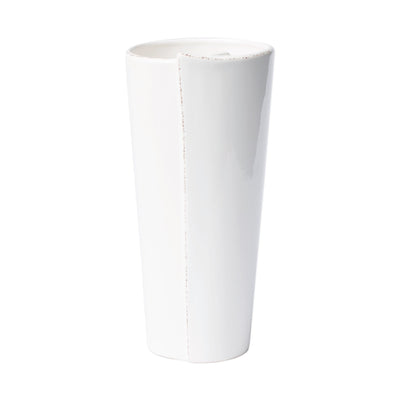 Lastra White Large Conic Vase by VIETRI
