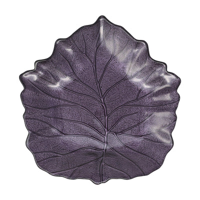 Leaf Glass Purple Elm Leaf Plate by VIETRI