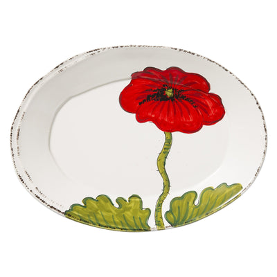 Lastra Poppy Small Oval Platter by VIETRI