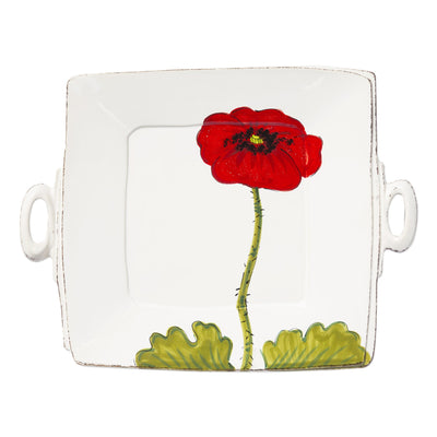 Lastra Poppy Handled Square Platter by VIETRI