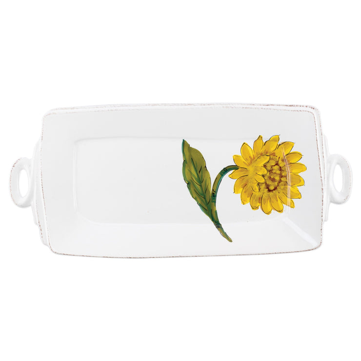 Lastra Sunflower Handled Rectangular Platter by VIETRI