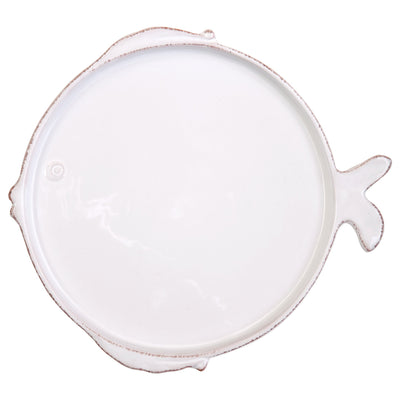 Melamine Lastra Fish White Dinner Plate by VIETRI