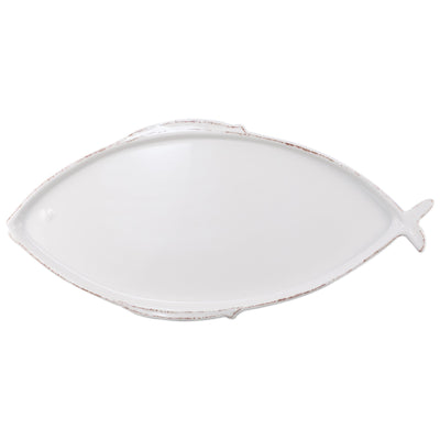 Melamine Lastra Fish White Large Oval Platter by VIETRI