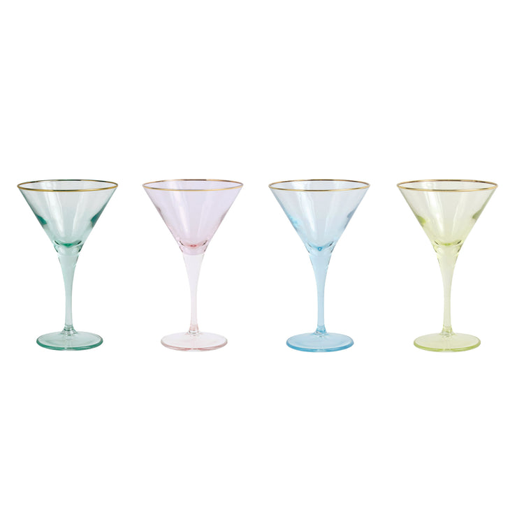 Rainbow Assorted Martini Glasses - Set of 4