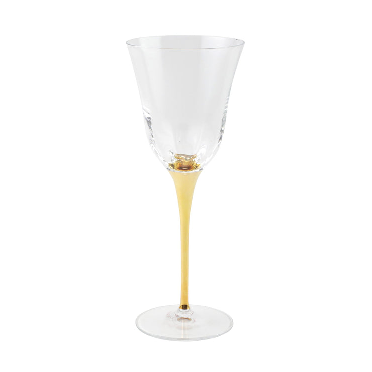 Optical Gold Stem Water Glass by VIETRI
