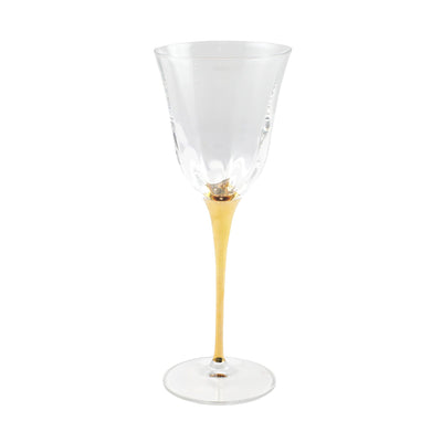 Optical Gold Stem Wine Glass by VIETRI