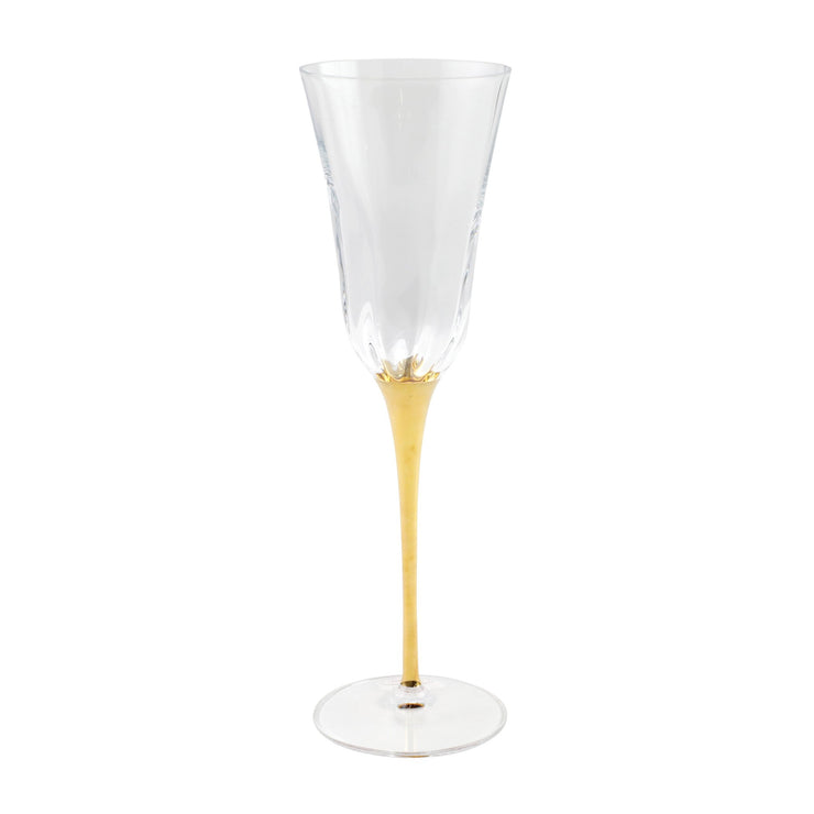 Optical Gold Stem Champagne Glass by VIETRI