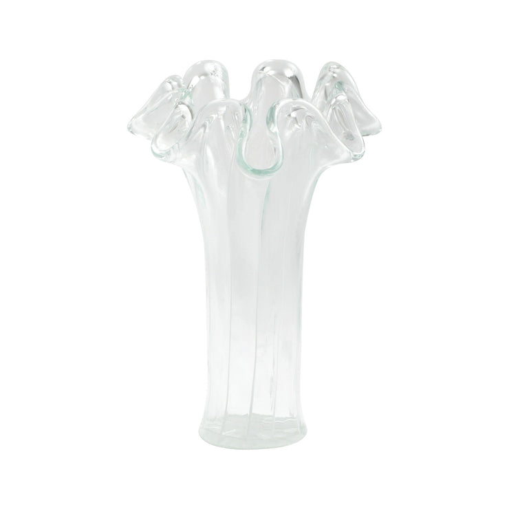 Onda Glass Clear with White Lines Short Vase by VIETRI