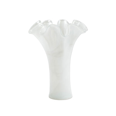 Onda Glass White Short Vase by VIETRI
