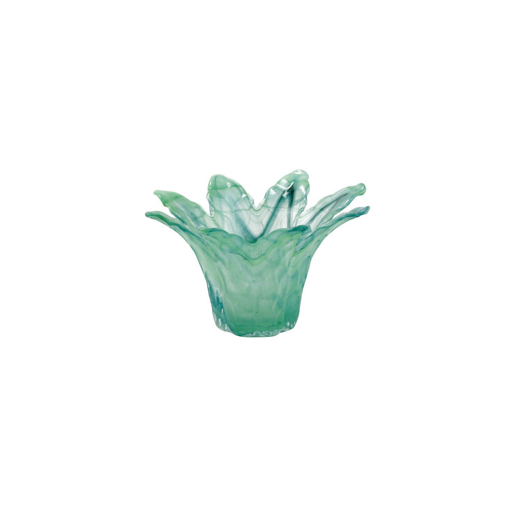 Onda Glass Green Small Leaf Centerpiece by VIETRI
