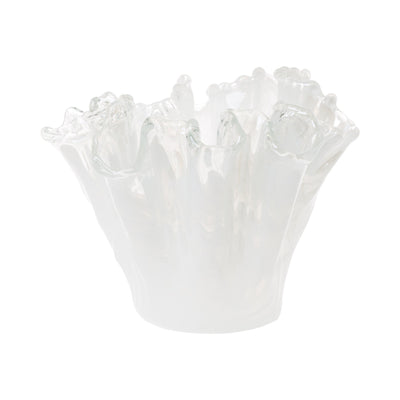 Onda Glass White Organic Vase by VIETRI