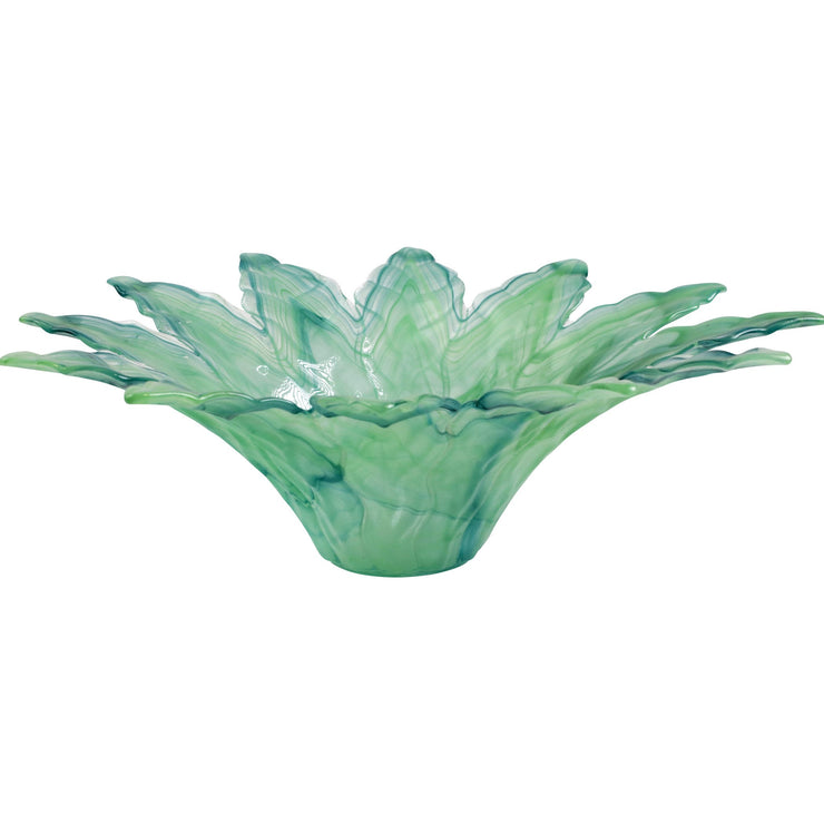 Onda Glass Green Leaf Large Centerpiece by VIETRI