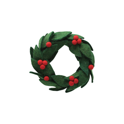 Ornaments Felt Wreath w/ Red Berries Ornament by VIETRI