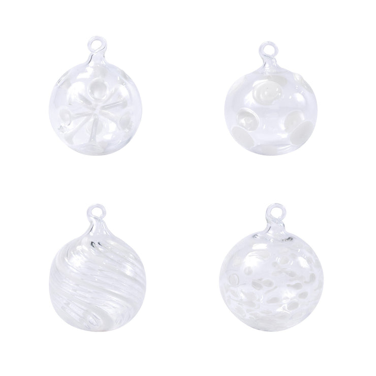 Ornaments Assorted White Ball Ornaments - Set of 4 by VIETRI