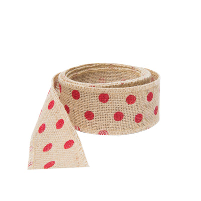 Old St Nick Red Dot On Natural Jute Ribbon - 5 Yrds by VIETRI