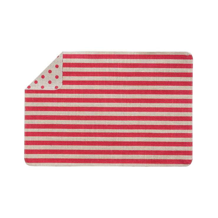 Old St Nick Red and Natural Striped/Dot Reversible Placemat by VIETRI