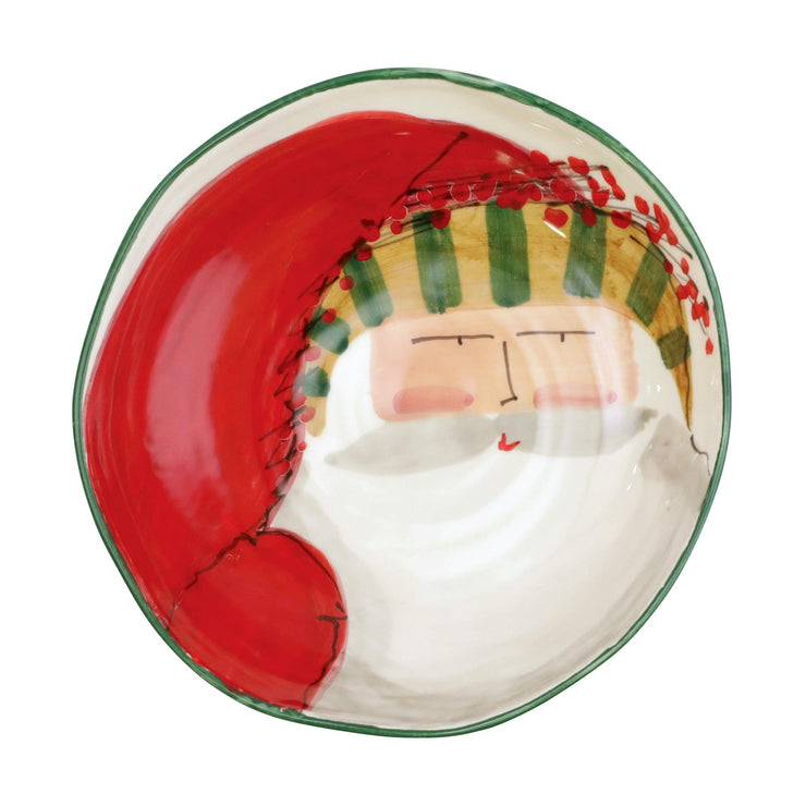 Old St. Nick Pasta Bowl - Stripe Hat by VIETRI