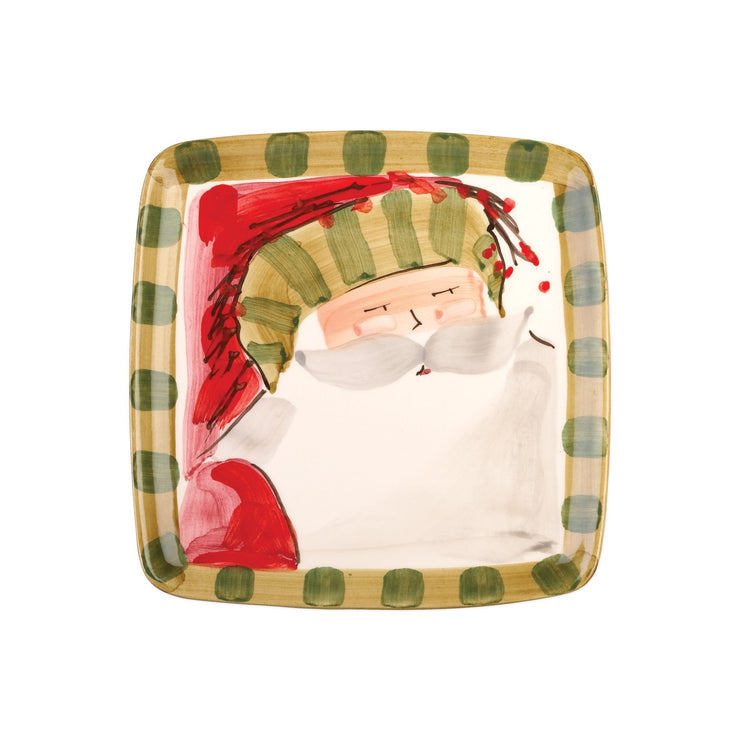 Old St. Nick Square Salad Plate - Striped by VIETRI