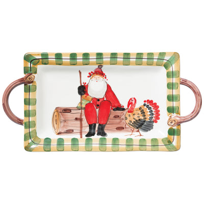 Old St. Nick Handled Rectangular Platter With Turkey by VIETRI