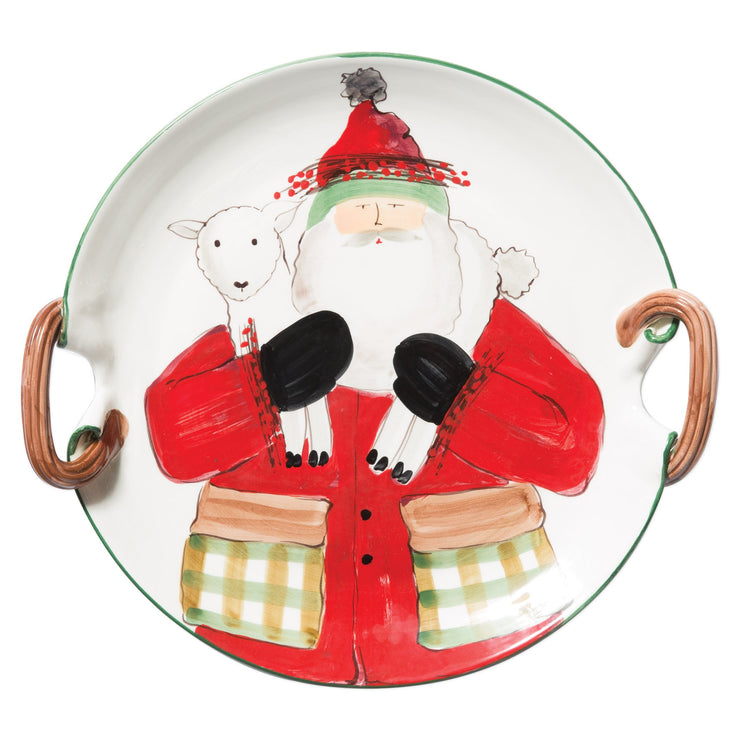 Old St. Nick Handled Round Platter with Lamb by VIETRI