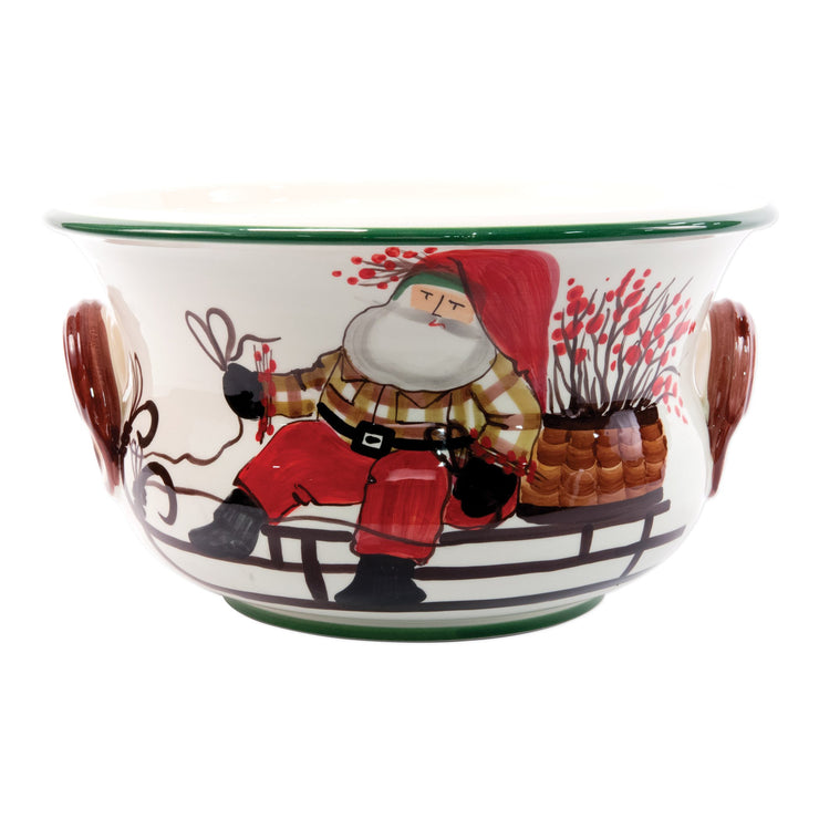 Old St. Nick Footed Round Cachepot with Sleigh by VIETRI