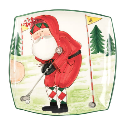 Old St. Nick Square Platter - Golfing by VIETRI