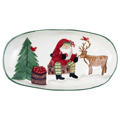 Old St. Nick 2019 Limited Edition Handled Shallow Oval Bowl by VIETRI