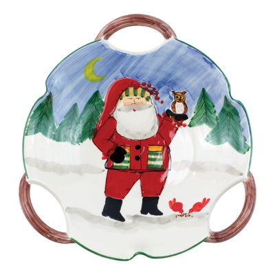 Old St. Nick Handled Scallop Bowl - Santa w/ Owl by VIETRI