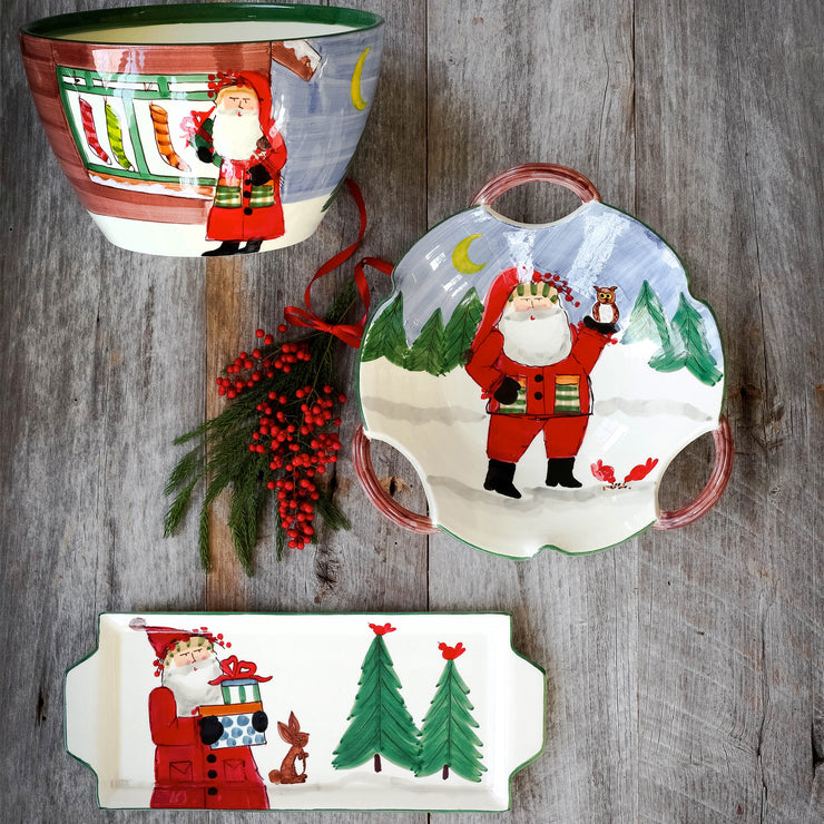 Old St. Nick Handled Scallop Bowl - Santa w/ Owl