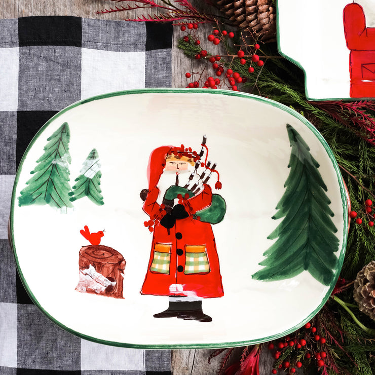 Old St. Nick Handled Shallow Oval Bowl - Santa w/ Bagpipes
