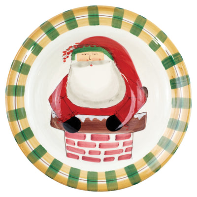 Old St. Nick Rimmed Large Bowl - Santa in Chimney