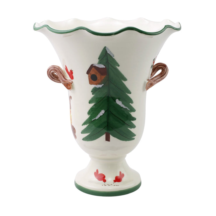Old St. Nick Large Footed Cachepot w/ Campfire by VIETRI