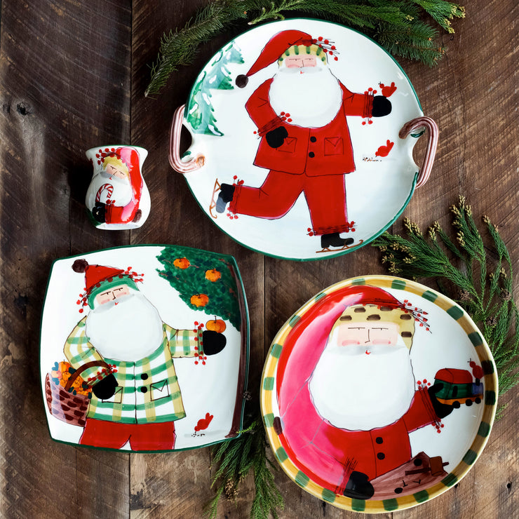 Old St. Nick Round Shallow Bowl w/ Train