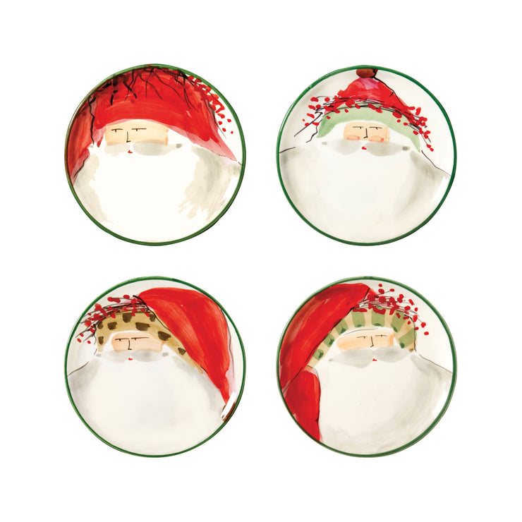 Old St Nick Assorted Canape Plates - Set of 4 by VIETRI