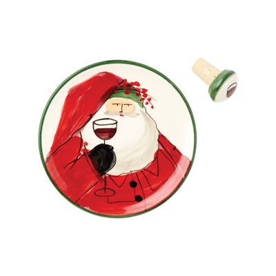 Old St. Nick Canape Plate w/ Cork Stopper by VIETRI