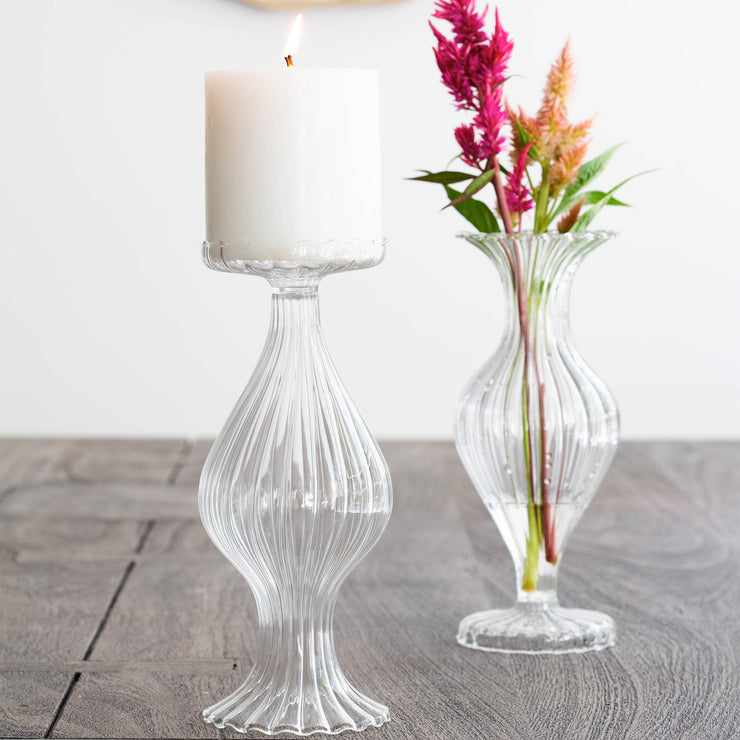 Ottico Glass Tall Bud Vase/Candleholder - Set of 2