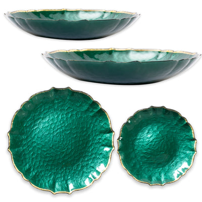 Baroque Glass Emerald 18-Piece Set