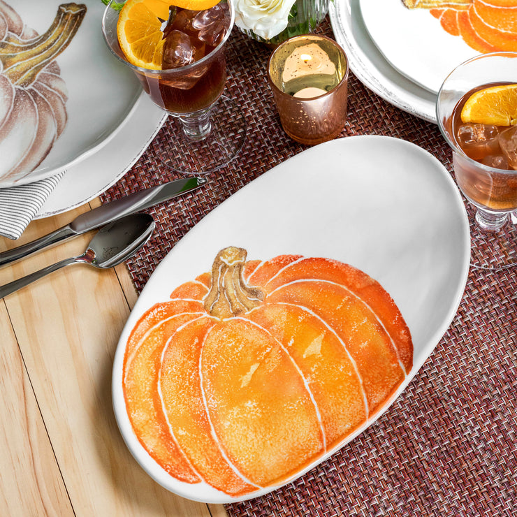 Pumpkins Small Oval Platter w/ Pumpkin