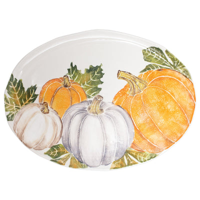 Pumpkins Large Oval Platter w/ Assorted Pumpkins by VIETRI