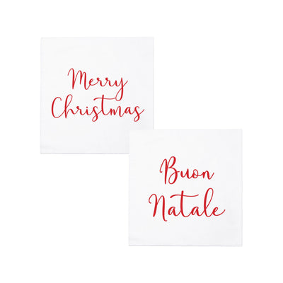 Papersoft Napkins Merry Christmas/Buon Natale Cocktail Napkins (Pack of 20) by VIETRI