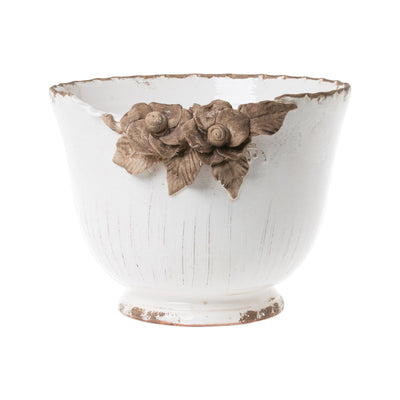 Rustic Garden White Planter W/Flowers by VIETRI