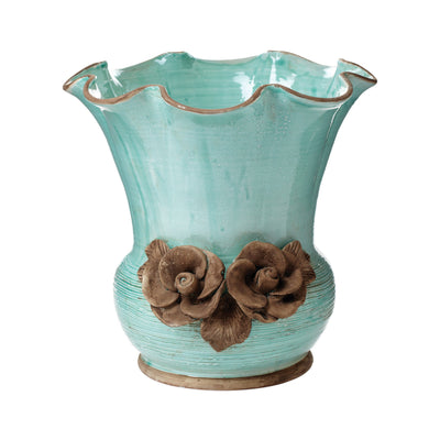 Rustic Garden Aqua Scalloped Planter With Flowers by VIETRI