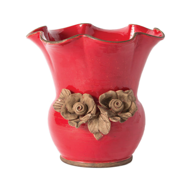Rustic Garden Red Scalloped Planter W/Flowers by VIETRI