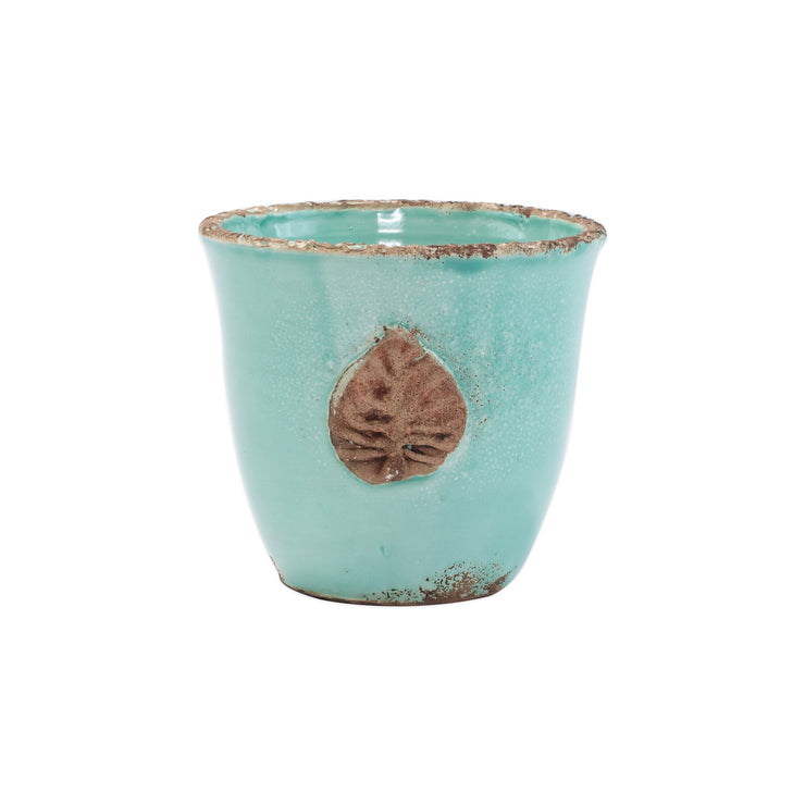 Rustic Garden Aqua Small Cachepot with Leaf by VIETRI