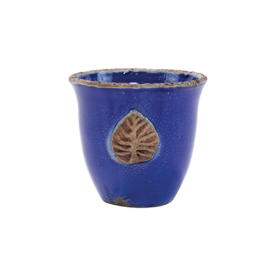 Rustic Garden Cobalt Small Cachepot with Leaf by VIETRI
