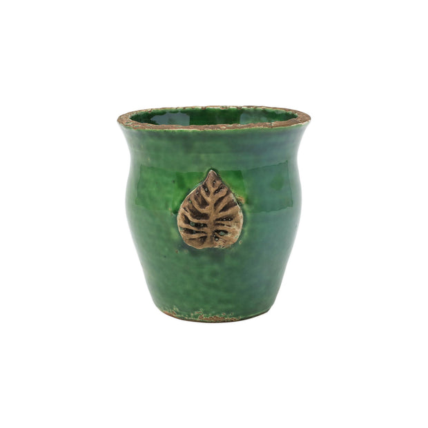 Rustic Garden Emerald Green Small Cachepot w/ Leaf by VIETRI