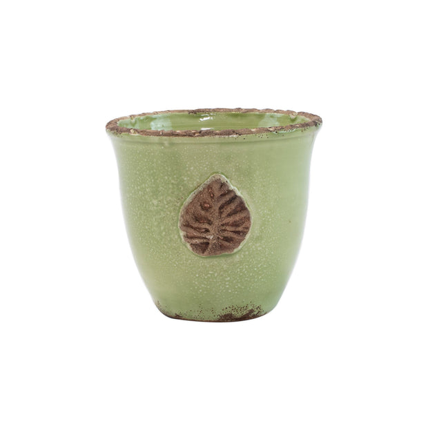 Rustic Garden Pistachio Small Cachepot with Leaf by VIETRI