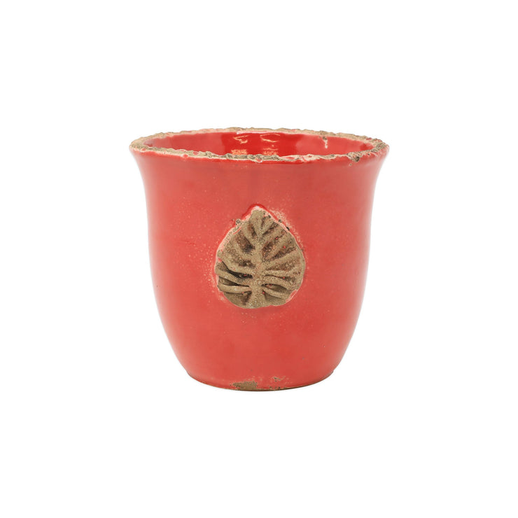 Rustic Garden Red Small Cachepot w/ Leaf by VIETRI