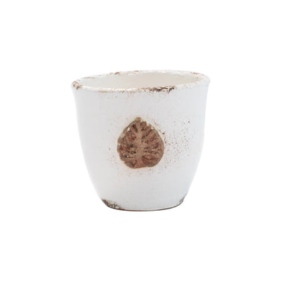 Rustic Garden White Small Cachepot with Leaf by VIETRI
