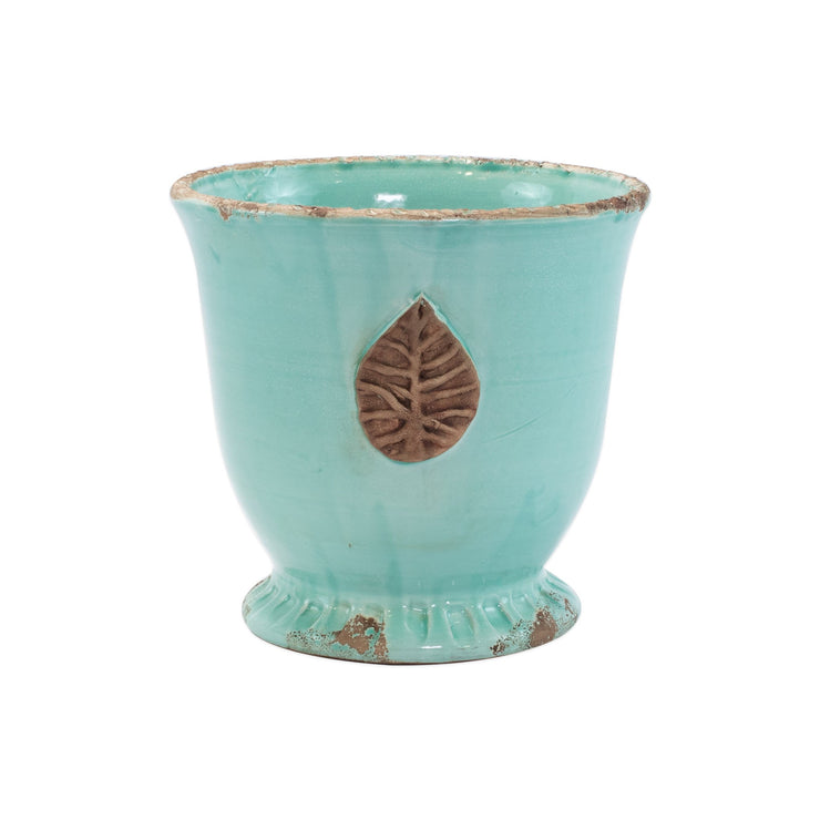 Rustic Garden Aqua Medium Cachepot with Leaf by VIETRI